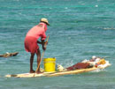 Fishing with an old surfboard