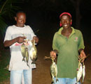 Fisherman are bringing the fish away in the evening